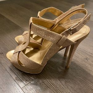 Aldo glitter gold heels